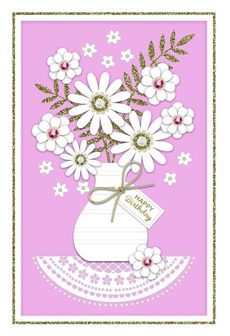 Bedazzled Flower Bouquet Birthday Card   Greeting Cards