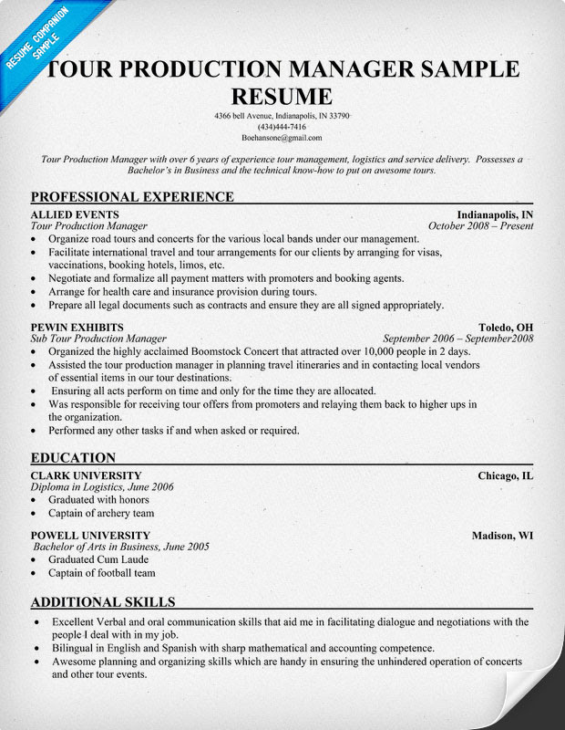 tour production manager resume example