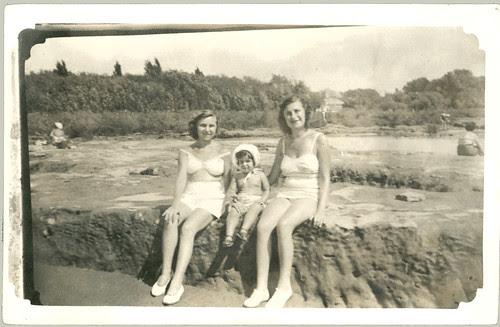 three girls on beach