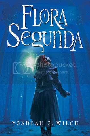 cover art for Flora Segunda, featuring a redhead girl with her back to the audience gazing up against a blue background