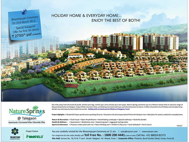 Visit Vascon Nature Springs Villas Row Houses 2 BHK & 3 BHK Flats & Vascon Nature's Nest 1 BHK 1.5 BHK & 2 BHK Flats at Varale near Talegaon Dabhade Taluka Maval District Pune 410 507 - Bhoomipujan & Inaugural Offer Ad