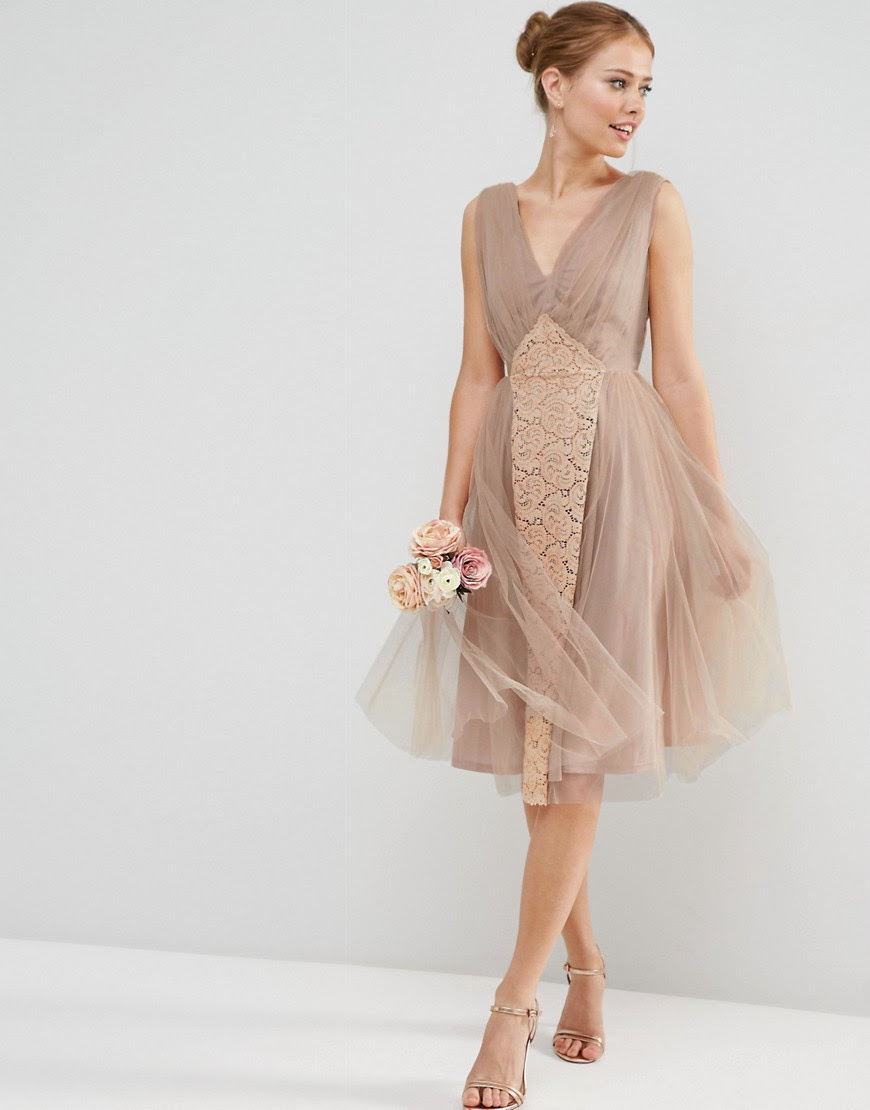 Image 1 of ASOS WEDDING Mesh and Lace Insert Midi Prom Dress