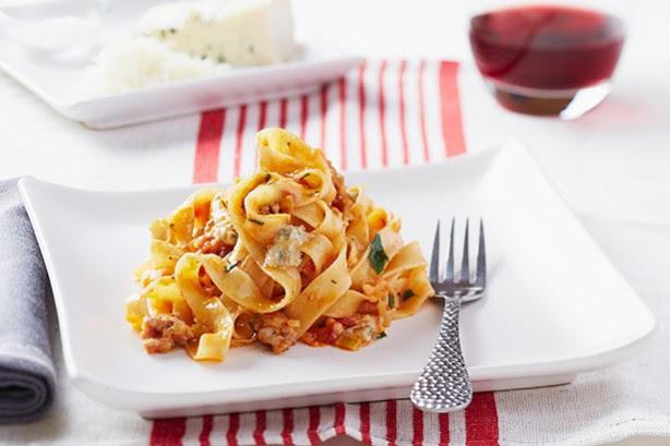 Fettuccine With Italian Sausage, Leeks, Gorgonzola Dolce And Napoletana Sauce Recipe  Taste.com.au