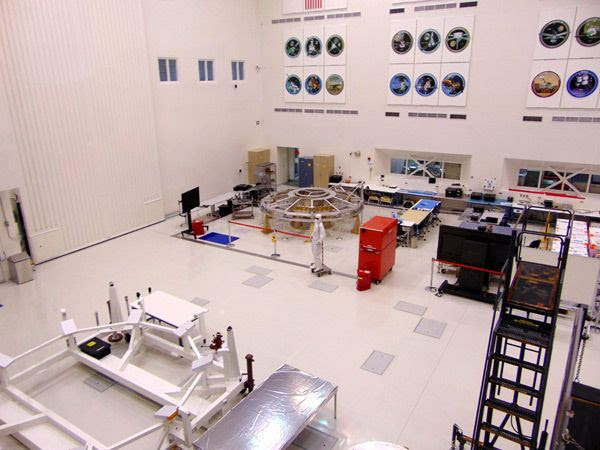 The cruise stage for the Mars 2020 mission on display (along with the work stand for the spacecraft's heat shield, which was at another facility for testing) at JPL...on May 20, 2017.