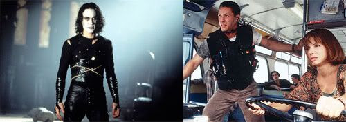 PIC 1: Brandon Lee in THE CROW.  PIC 2: Keanu Reeves tries to save Sandra Bullock's life in SPEED.