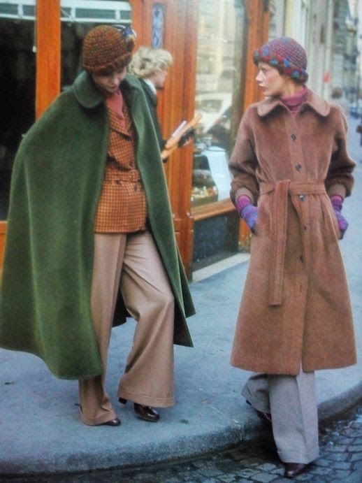 Le Fashion Blog 1970s 70s Street Style Vintage Photos Wool Coats Wide Leg Pants Via Tres Blase