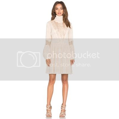Ganni Long Sleeve High Neck Mini Dress