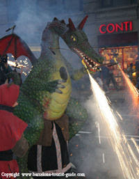 Sparkler-breathing dragon at the Correfoc fire run