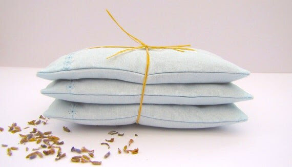 Embroidered Lavender Sachet Pillows - Set Of Three - Pure Cotton Pouches In Sky Blue - by mirrymirry