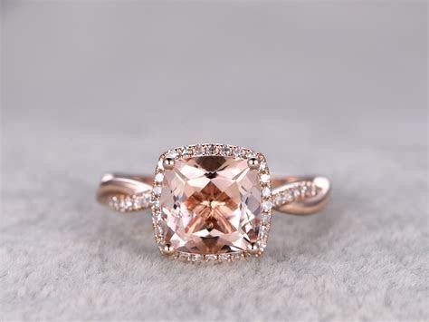 2.4 Carat Cushion Cut Morganite Engagement Ring Diamond