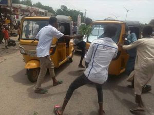 Keke Drivers In Maiduguri Protest, Burn Tyres Over Extortions By Police (Photos)