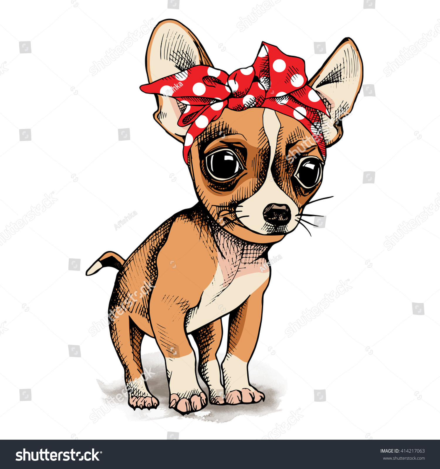 Download Puppy Chihuahua In A Headband. Vector Illustration ...