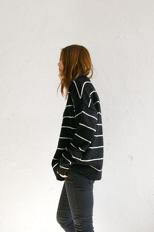 Le Fashion Blog Fall Style Oversized Black And White Striped Sweater Grey Jeans Via Death By Elocution