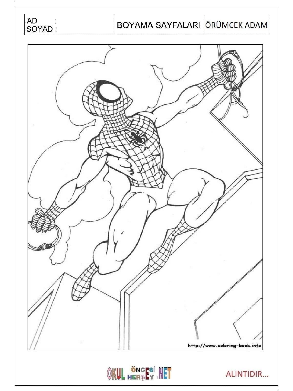 örümcek Adam Boyama Sayfalari