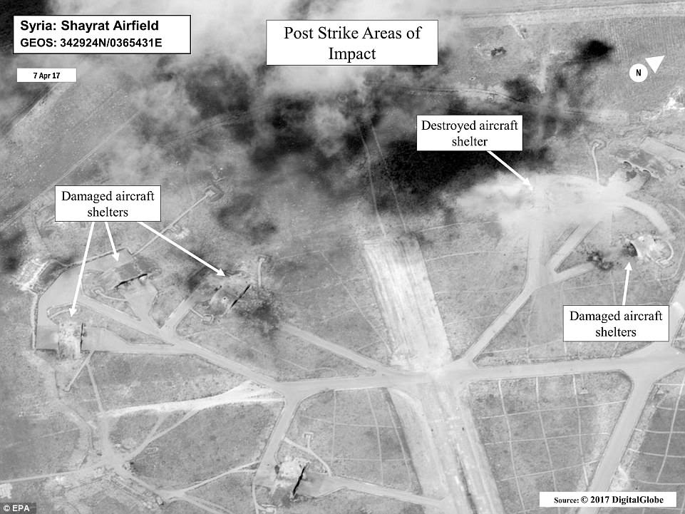Damage: The photos show that the missiles - which were launched from 150 miles away by US destroyers - were terrifyingly accurate, slamming down on the shelters and ripping up runways
