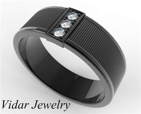 Men's Black Gold Diamond Wedding Band   Vidar Jewelry
