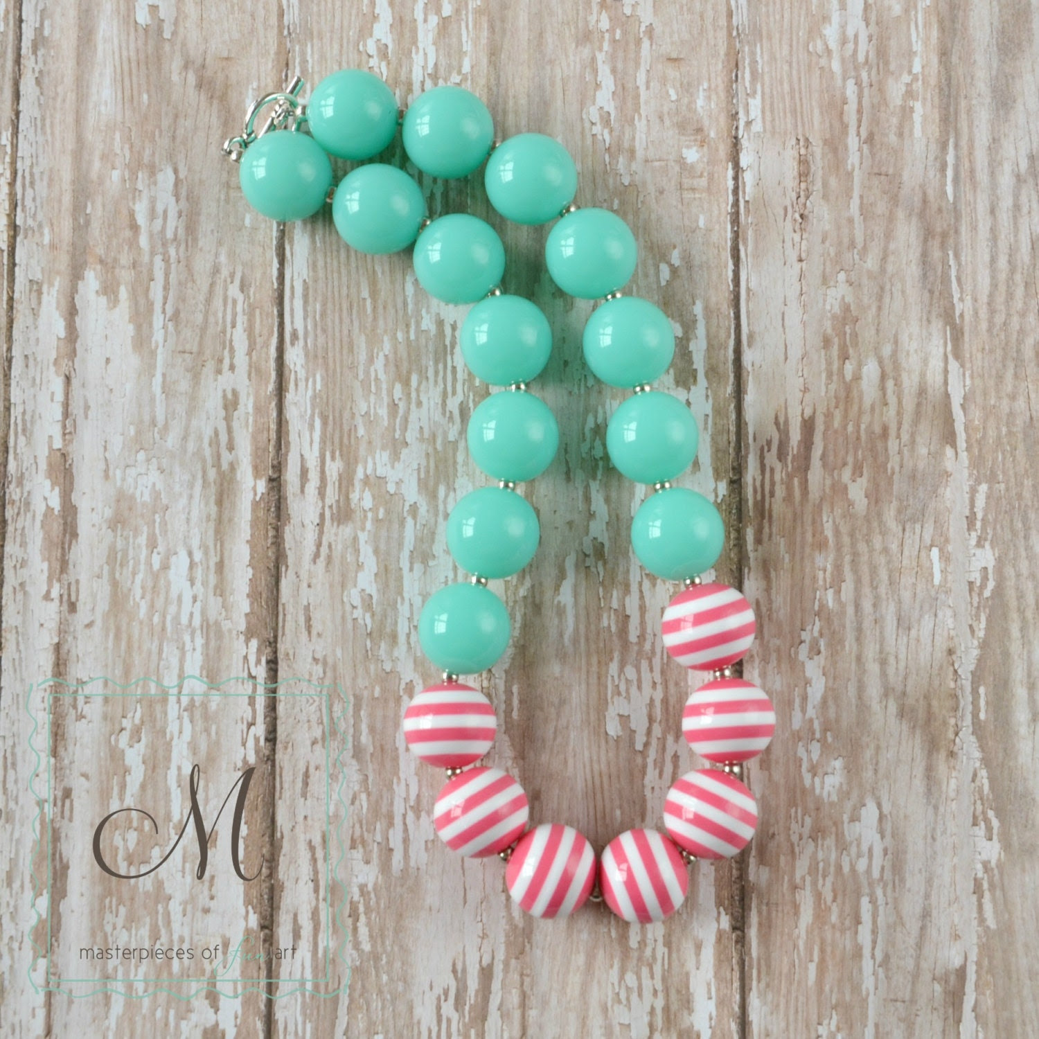 Aqua and Hot Pink Stripes Chunky Beads Girls Necklace - Super cute for Summer - MasterpiecesOfFunArt