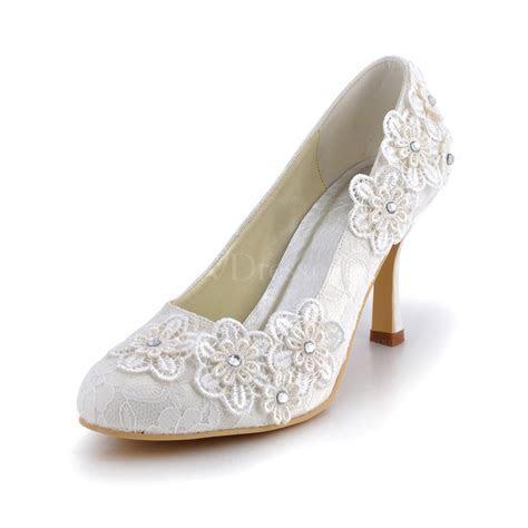 Cream Kitten Heel Wedding Shoes Closed Toe Lace Office