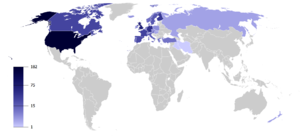 Map of countries by the number of politicians,...