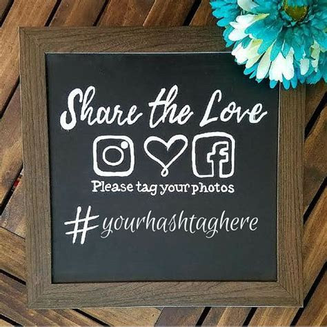 Framed Hand Lettered Hashtag Wedding Sign Instagram