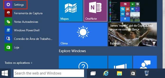 Acessando as configurações do Windows 10 (Foto: Reprodução/Edivaldo Brito) (Foto: Acessando as configurações do Windows 10 (Foto: Reprodução/Edivaldo Brito))