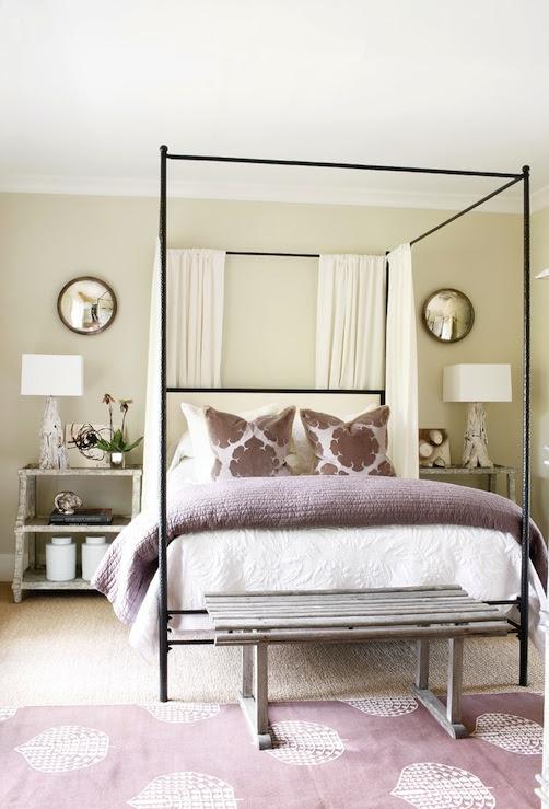 Beautiful purple bedroom design with soft tan walls paint step nightstands