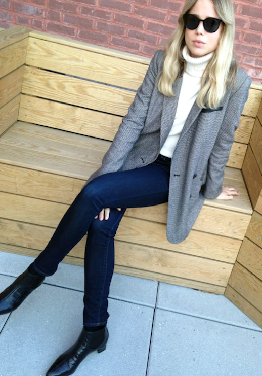 Le Fashion Blog Elin Kling Round Celine Sunglasses Grey Blazer Ivory Turtleneck Knit Skinny Denim Croc Leather Pointed Toe Ankle Boots Via The Wall