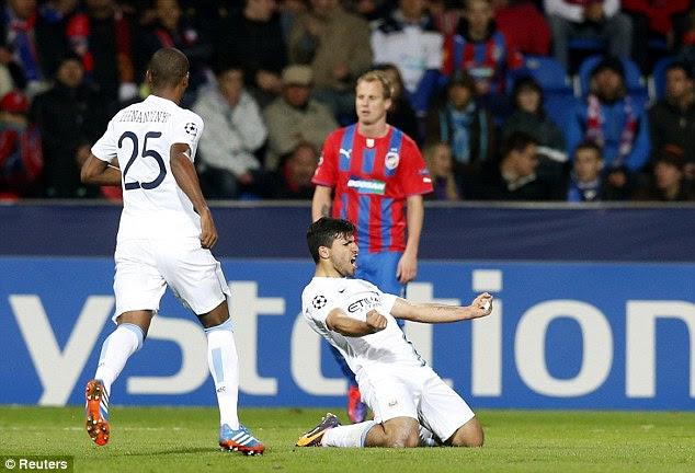 Wrapping it up: Aguero celebrates scoring City's third