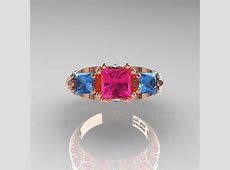 Classic 14K Rose Gold Three Stone Princess Pink Sapphire Blue Topaz Solitaire Ring Wedding Band