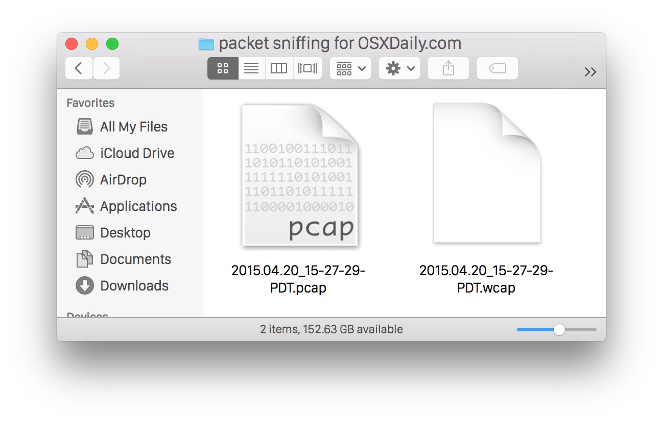 Captured packets WCAP and PCAP files from the Mac OS X packets sniffer