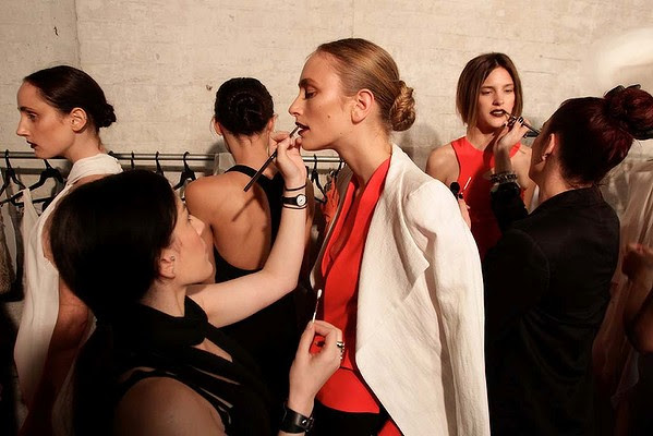 "Models backstage wearing Carla Zampatti designs for her Spring Summer ""The Strength of Simplicity"" Collection."