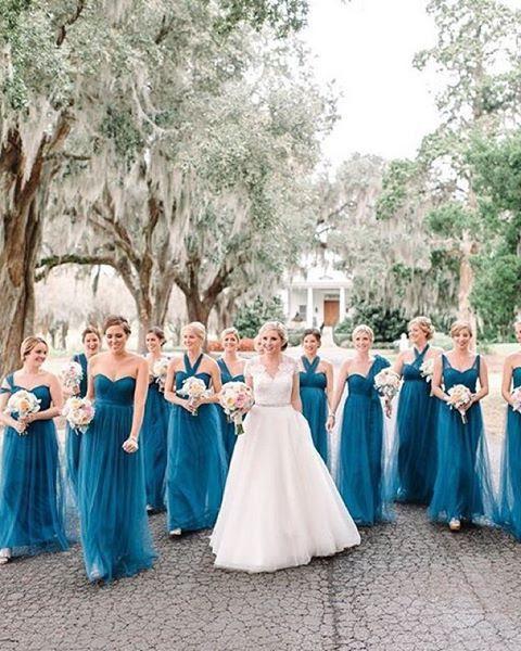 schön Fett blau transformable Brautjungfern Kleider für die Mädchen wählen Ihr design