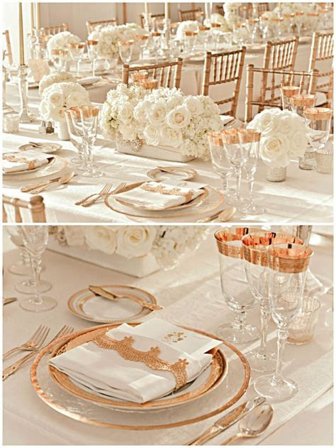 Tablescape Rose Gold White   Wedding Peach /Rose Gold