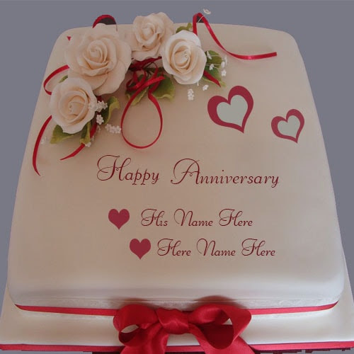 Happy Anniversary Cake With Couple Name Editor