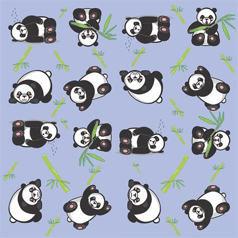 illustration panda tile cute pattern blue
