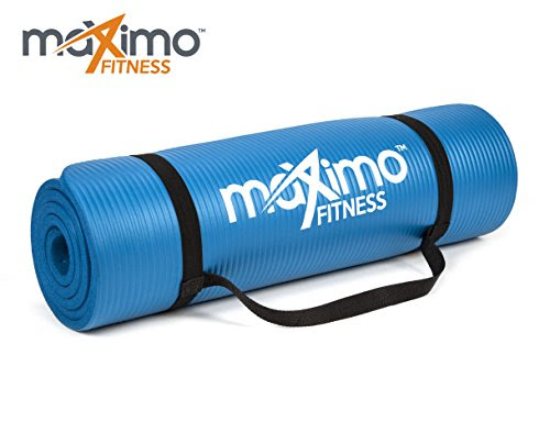 Maximo Fitness Exercise Mat - Premium Quality NBR Gym Mat - 12mm Extra Thick, Multi Purpose - Perfect for Yoga, Pilates, Sit-Ups and Stretching - Lifetime Warranty. (Blue)