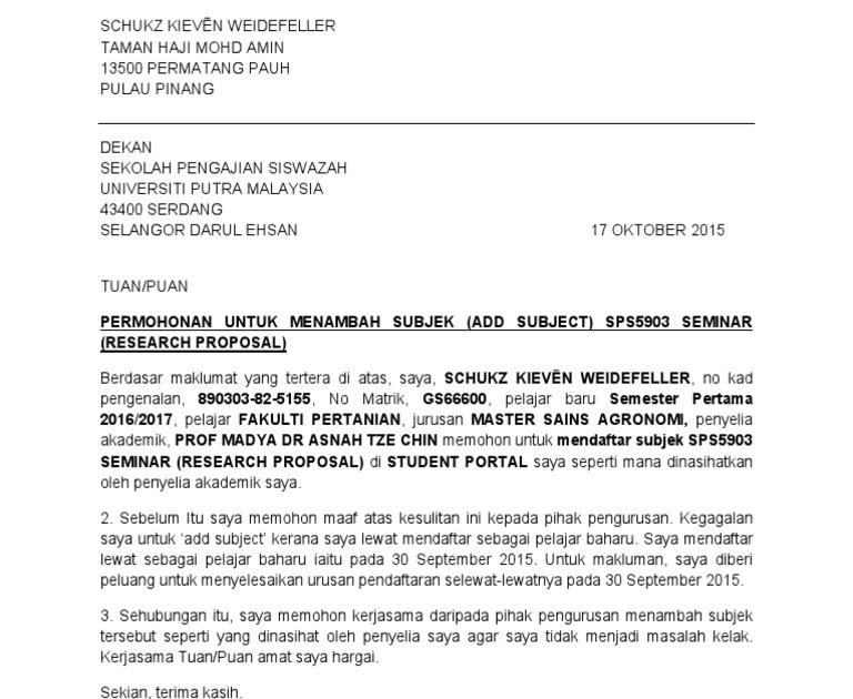 Contoh Surat Rasmi Untuk Permohonan Latihan Industri Arasmi
