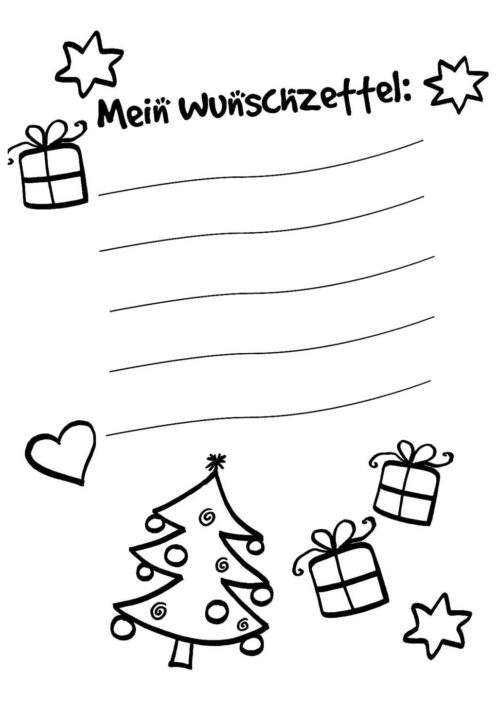 Ausmalbild Wunschzettel für Weihnachten Wunschzettel zum Ausmalen kostenlos ausdrucken