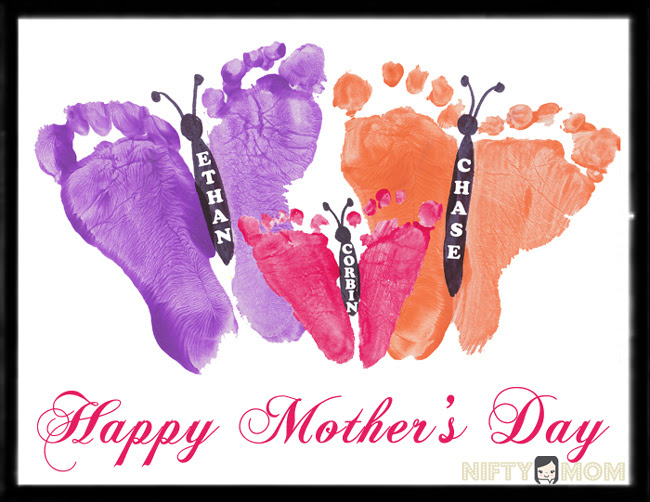 Toddler Footprint Butterflies Mothers Day Gift Idea