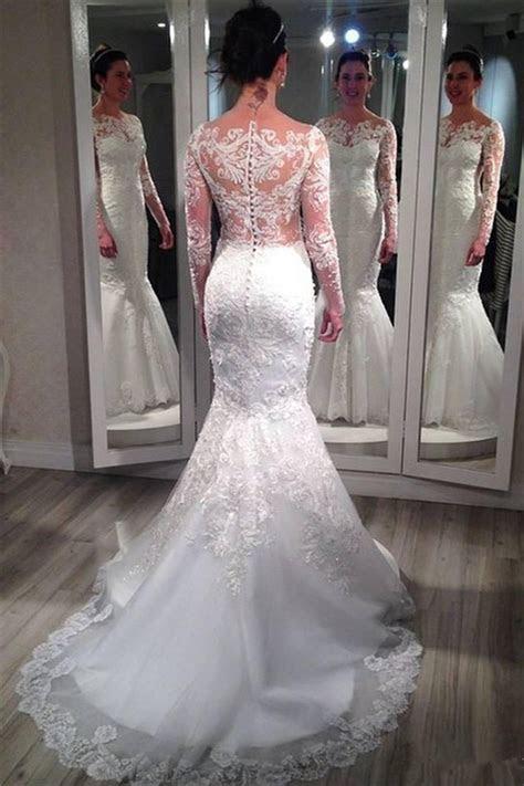 Lace Long Sleeve Wedding Dresses 2019 Vintage Mermaid
