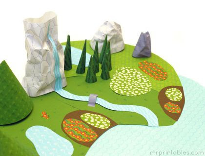 printable paper world where you create the scene of your choice- mountains, lakes, cities, busy roads, farms, etc