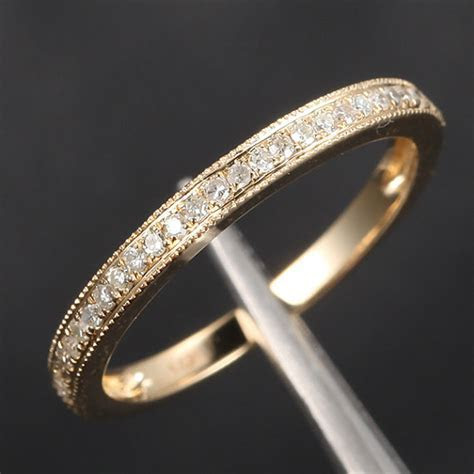 HALF Eternity Band Milgrain Pave H/SI Diamonds Band Solid