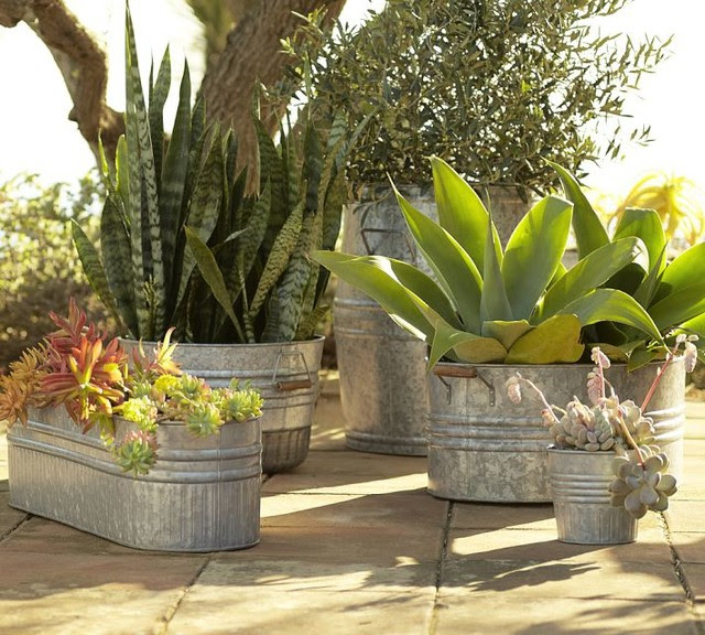 Eclectic Galvanized Metal Planters - eclectic - outdoor decor ...