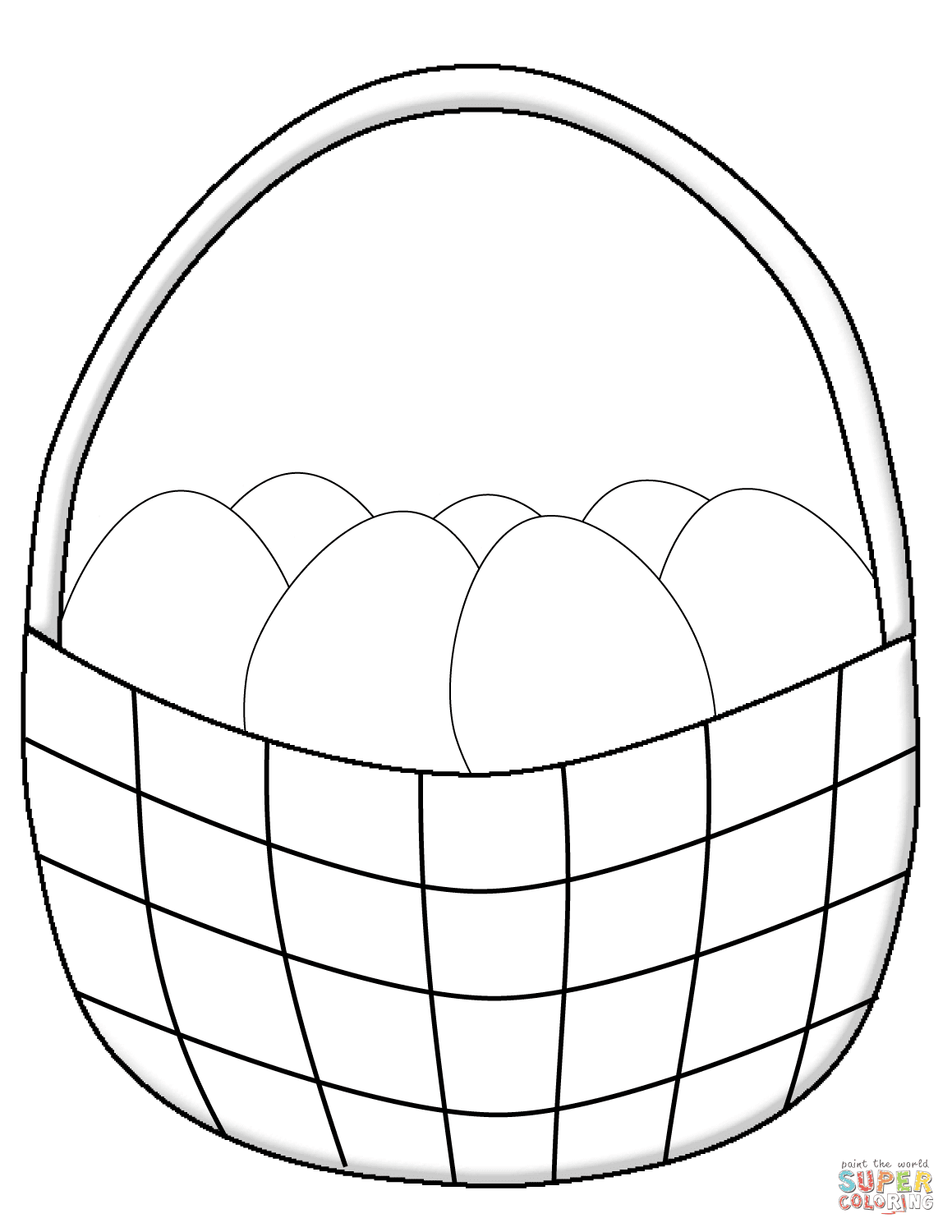 Simple Easter Basket with Eggs coloring page | Free ...