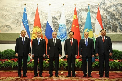 Picture of heads of the six SCO states meeting in Beijing in June 2012.