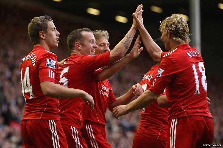 Liverpool celebrate at Anfield