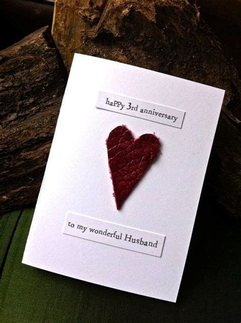 3rd Wedding Anniversary Card with Leather for Husband