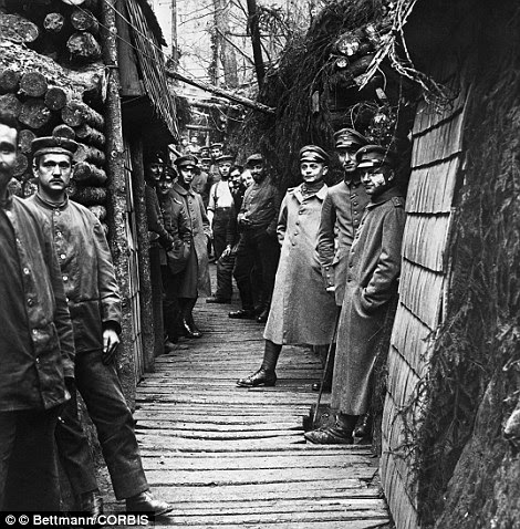 Germans on the Western Front pose for a photo that shows the elaborate construction