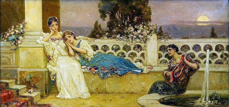 Eveneing at the Terrace, private collection. Котарбинский Вильгельм Александрович (1849-1922)