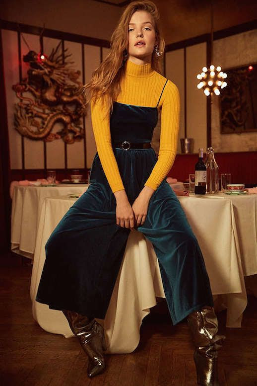 Le Fashion Blog Must Have Velvet Straight Neck Jumpsuit Via Urban Outfitters